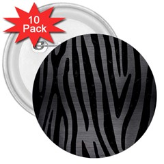Skin4 Black Marble & Gray Brushed Metal (r) 3  Buttons (10 Pack)