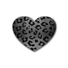 Skin5 Black Marble & Gray Brushed Metal (r) Rubber Coaster (heart)  by trendistuff