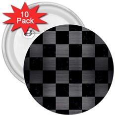Square1 Black Marble & Gray Brushed Metal 3  Buttons (10 Pack)