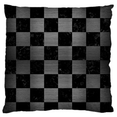 Square1 Black Marble & Gray Brushed Metal Large Flano Cushion Case (one Side) by trendistuff