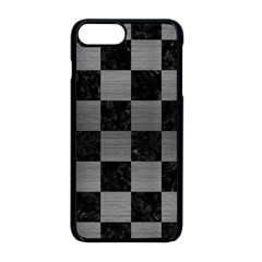 Square1 Black Marble & Gray Brushed Metal Apple Iphone 8 Plus Seamless Case (black) by trendistuff