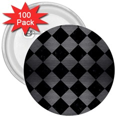 Square2 Black Marble & Gray Brushed Metal 3  Buttons (100 Pack)  by trendistuff