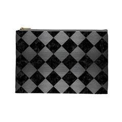 Square2 Black Marble & Gray Brushed Metal Cosmetic Bag (large)