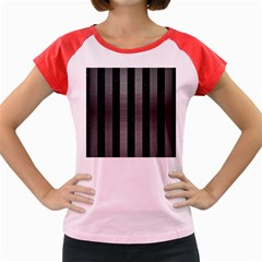 Stripes1 Black Marble & Gray Brushed Metal Women s Cap Sleeve T Shirt