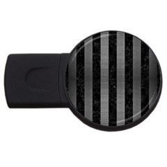 Stripes1 Black Marble & Gray Brushed Metal Usb Flash Drive Round (2 Gb) by trendistuff
