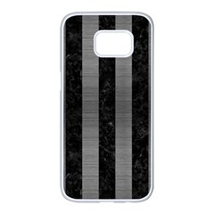 Stripes1 Black Marble & Gray Brushed Metal Samsung Galaxy S7 Edge White Seamless Case by trendistuff