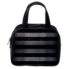 Stripes2 Black Marble & Gray Brushed Metal Classic Handbags (one Side) by trendistuff
