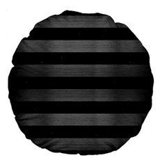 Stripes2 Black Marble & Gray Brushed Metal Large 18  Premium Flano Round Cushions by trendistuff