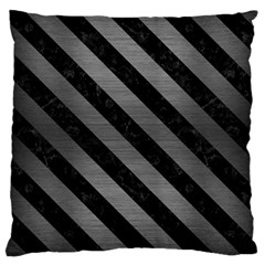 Stripes3 Black Marble & Gray Brushed Metal Large Cushion Case (two Sides) by trendistuff