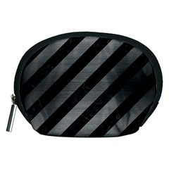 Stripes3 Black Marble & Gray Brushed Metal (r) Accessory Pouches (medium)