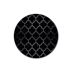 Tile1 Black Marble & Gray Brushed Metal (r) Rubber Coaster (round)  by trendistuff