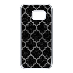 Tile1 Black Marble & Gray Brushed Metal (r) Samsung Galaxy S7 White Seamless Case