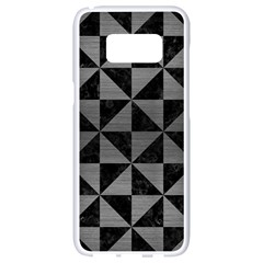 Triangle1 Black Marble & Gray Brushed Metal Samsung Galaxy S8 White Seamless Case by trendistuff