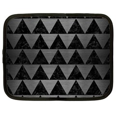 Triangle2 Black Marble & Gray Brushed Metal Netbook Case (large) by trendistuff