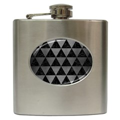 Triangle3 Black Marble & Gray Brushed Metal Hip Flask (6 Oz) by trendistuff