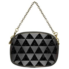 Triangle3 Black Marble & Gray Brushed Metal Chain Purses (two Sides)  by trendistuff