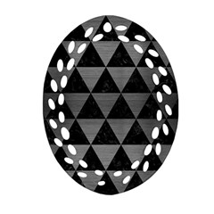 Triangle3 Black Marble & Gray Brushed Metal Oval Filigree Ornament (two Sides) by trendistuff