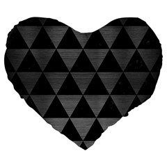 Triangle3 Black Marble & Gray Brushed Metal Large 19  Premium Flano Heart Shape Cushions by trendistuff