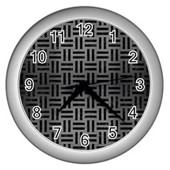 Woven1 Black Marble & Gray Brushed Metal Wall Clocks (silver)  by trendistuff