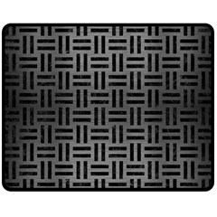 Woven1 Black Marble & Gray Brushed Metal Double Sided Fleece Blanket (medium)  by trendistuff