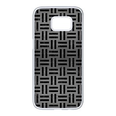 Woven1 Black Marble & Gray Brushed Metal Samsung Galaxy S7 Edge White Seamless Case by trendistuff