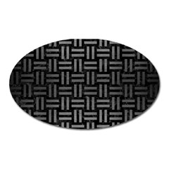 Woven1 Black Marble & Gray Brushed Metal (r) Oval Magnet