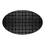 WOVEN1 BLACK MARBLE & GRAY BRUSHED METAL (R) Oval Magnet Front