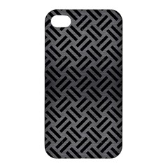 Woven2 Black Marble & Gray Brushed Metal Apple Iphone 4/4s Premium Hardshell Case