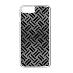 Woven2 Black Marble & Gray Brushed Metal Apple Iphone 8 Plus Seamless Case (white) by trendistuff
