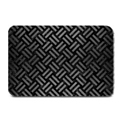Woven2 Black Marble & Gray Brushed Metal (r) Plate Mats by trendistuff