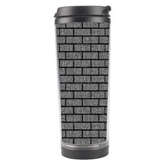 Brick1 Black Marble & Gray Denim Travel Tumbler by trendistuff