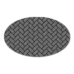 Brick2 Black Marble & Gray Denim Oval Magnet by trendistuff