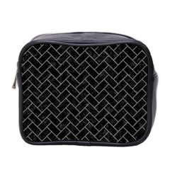 Brick2 Black Marble & Gray Denim (r) Mini Toiletries Bag 2 Side by trendistuff