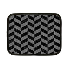 Chevron1 Black Marble & Gray Denim Netbook Case (small)  by trendistuff