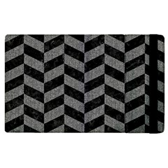 Chevron1 Black Marble & Gray Denim Apple Ipad 3/4 Flip Case by trendistuff