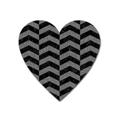 Chevron2 Black Marble & Gray Denim Heart Magnet