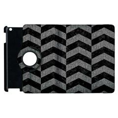 Chevron2 Black Marble & Gray Denim Apple Ipad 3/4 Flip 360 Case by trendistuff