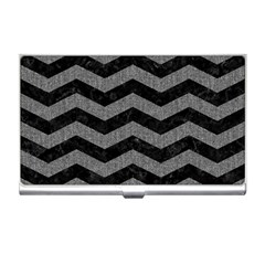 Chevron3 Black Marble & Gray Denim Business Card Holders by trendistuff