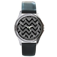 Chevron9 Black Marble & Gray Denim Round Metal Watch by trendistuff