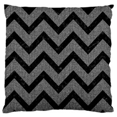 Chevron9 Black Marble & Gray Denim Large Cushion Case (two Sides) by trendistuff