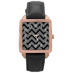 Chevron9 Black Marble & Gray Denim Rose Gold Leather Watch  by trendistuff