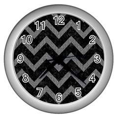 Chevron9 Black Marble & Gray Denim (r) Wall Clocks (silver)  by trendistuff