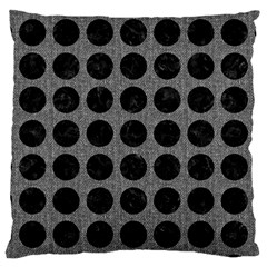 Circles1 Black Marble & Gray Denim Large Cushion Case (two Sides) by trendistuff