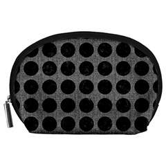 Circles1 Black Marble & Gray Denim Accessory Pouches (large)  by trendistuff