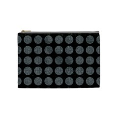 Circles1 Black Marble & Gray Denim (r) Cosmetic Bag (medium)  by trendistuff