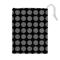 Circles1 Black Marble & Gray Denim (r) Drawstring Pouches (extra Large) by trendistuff