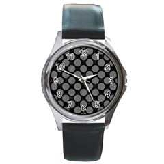 Circles2 Black Marble & Gray Denim (r) Round Metal Watch by trendistuff