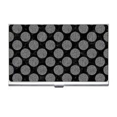 Circles2 Black Marble & Gray Denim (r) Business Card Holders by trendistuff
