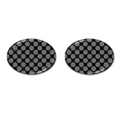 Circles2 Black Marble & Gray Denim (r) Cufflinks (oval) by trendistuff