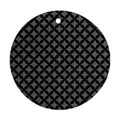 Circles3 Black Marble & Gray Denim Round Ornament (two Sides) by trendistuff